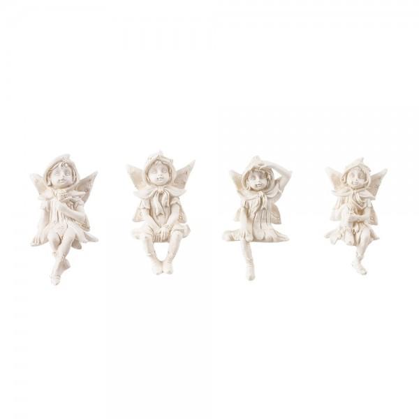 Deko-Elfen, Kantenhocker, weiß, 5,5 cm, 4 Stück
