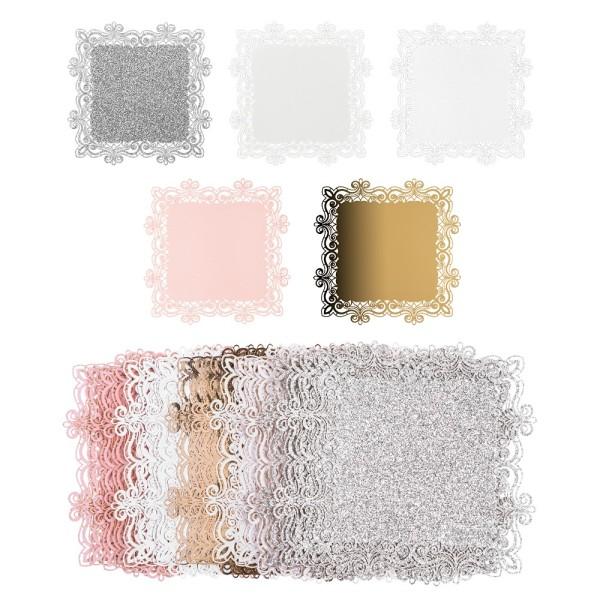 Laser-Kartenaufleger, Zierdeckchen, Ornament 12, 14cm x 14cm, 220 g/m², 5 Farbtöne, 20 Stück