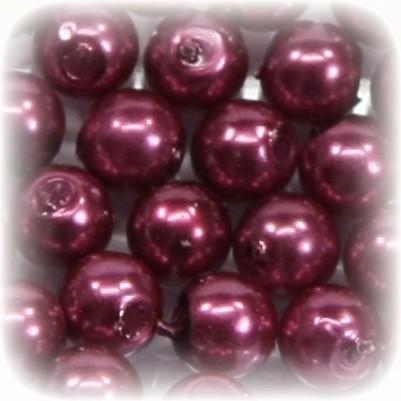 Perlen, rund, Ø6 mm, rotviolett, 50 Stück