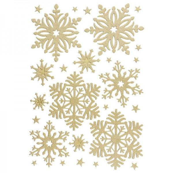 3-D Sticker, Deluxe Eiskristalle, verschiedene Größen, selbstklebend, gold