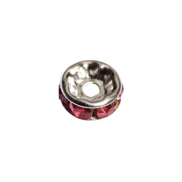 Strass-Rondell mit Strass-Steinen, Ø0,8 cm, 10 Stück, silber/rubin