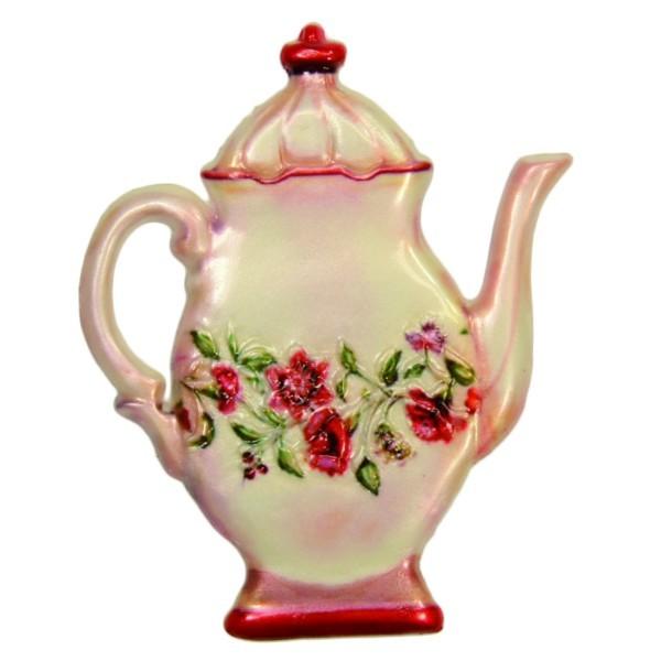 Wachsornament Kanne mit Blumenzierde, 8 x 6,5 cm, Design 3