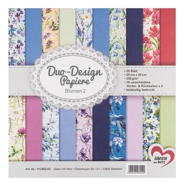 Duo-Design-Papiere, Blumen 2, beidseitig bedruckt, 25cm x 25cm, 250g/m², 20 Blatt
