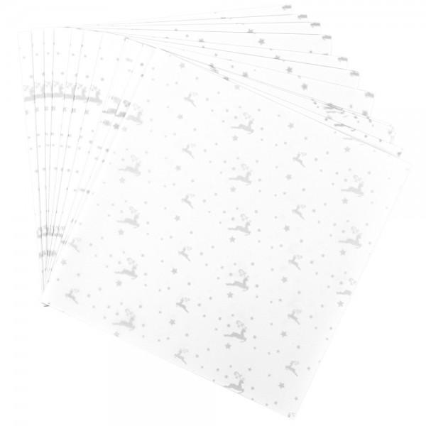 Faltpapiere, transparent, Hirsche, 20cm x 20cm, 110 g/m², weiß/silber, 100 Stück