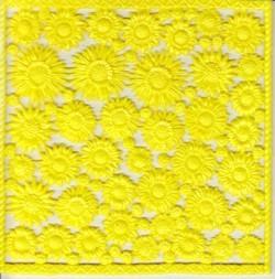 Wachsornament-Platte Sonnenblumen, 16 x 16 cm, gelb