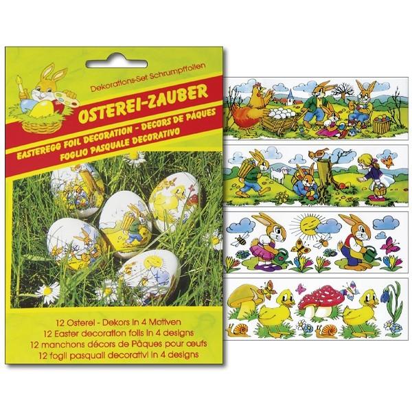Deko-Schrumpffolien Osterei-Zauber, 4 Designs, 12er Set