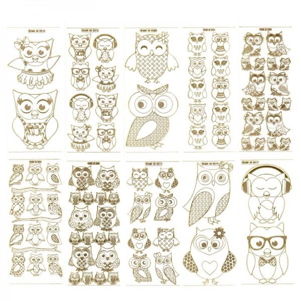 Gravur-Stickerbogen, 82 Eulen-Motive