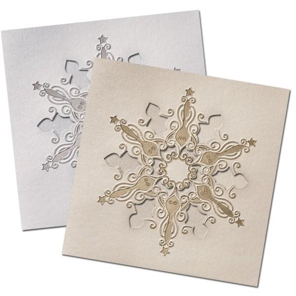 """Deluxe-Grußkarten """"Eiskristall"""", 16x16cm, 10 Stück, inkl. Umschläge"""