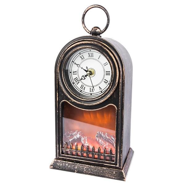 LED-Kaminfeuer, Uhr, 15cm x 12cm, 27,5cm, mit funktionstüchtigem Uhrwerk, Timer