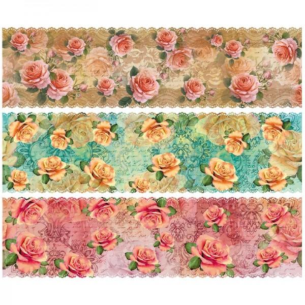 """Zauberfolien """"Vintage Rosen"""", Schrumpffolien für Eier mit 9,5cm x 6,5cm, 7,6cm hoch, 6 Stück"""