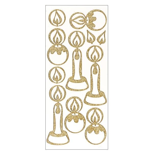 Microglitter-Sticker, Kerzen, gold