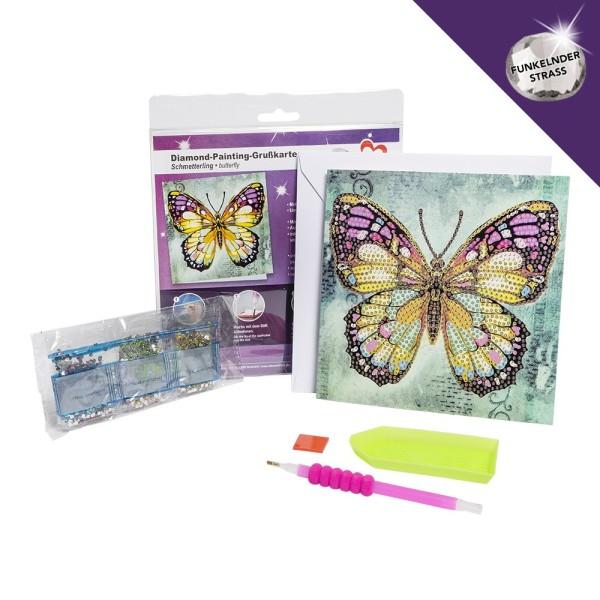 Diamond-Painting-Grußkarte, Strass, Schmetterling, 16cm x 16cm, inkl. Umschlag & Werkzeug