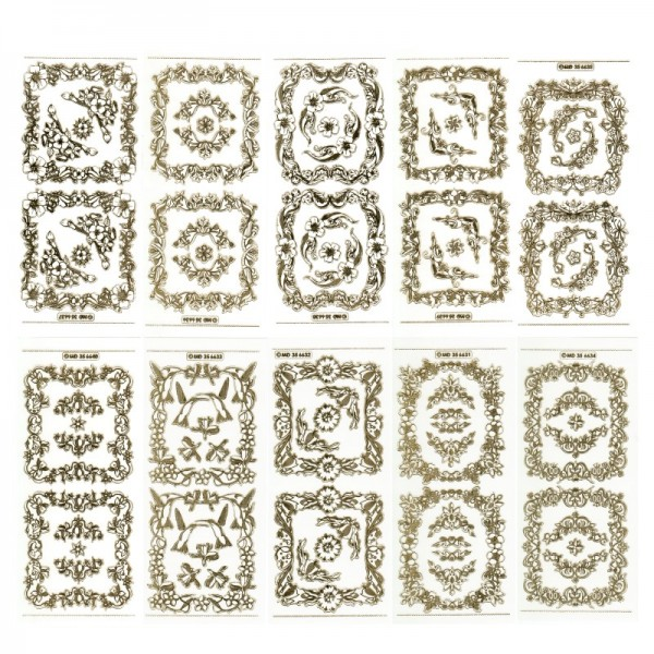 Gravur-Sticker, 20 Rahmen & 40 Ecken, transparent/gold, 10 Bogen