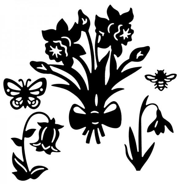 Stanzschablonen, Frühlingsblumen, 5 Stück