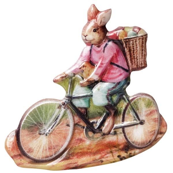 Wachsornament Osterhase auf Fahrrad, farbig, geprägt, 6-7cm