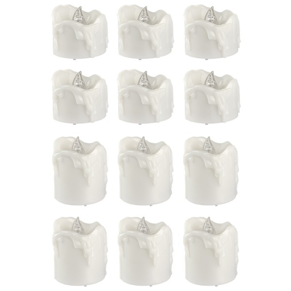 LED-Kerzen, 3,2cm hoch Ø3,6cm & 4,5cm hoch Ø3,6cm, warmweiß, Timer-Funktion, 12 Stück