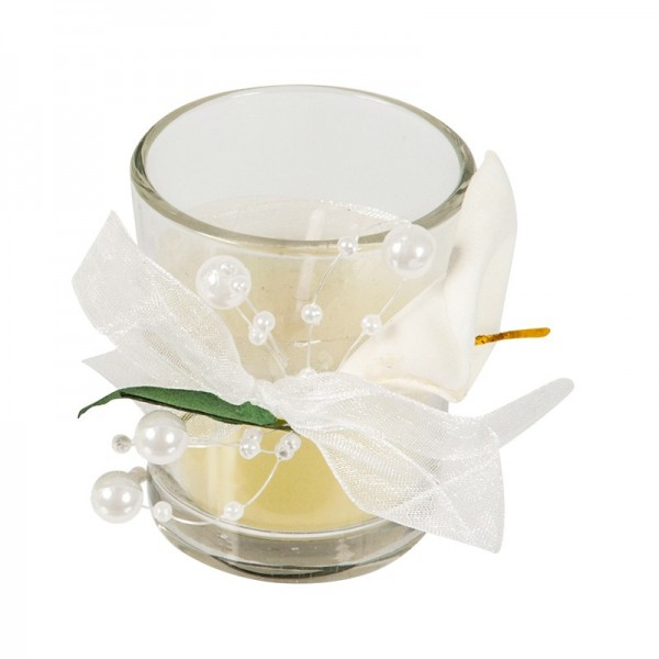 Hochzeits-Duftkerze im Glas, Ø 4,5-5cm , 6cm hoch, Calla