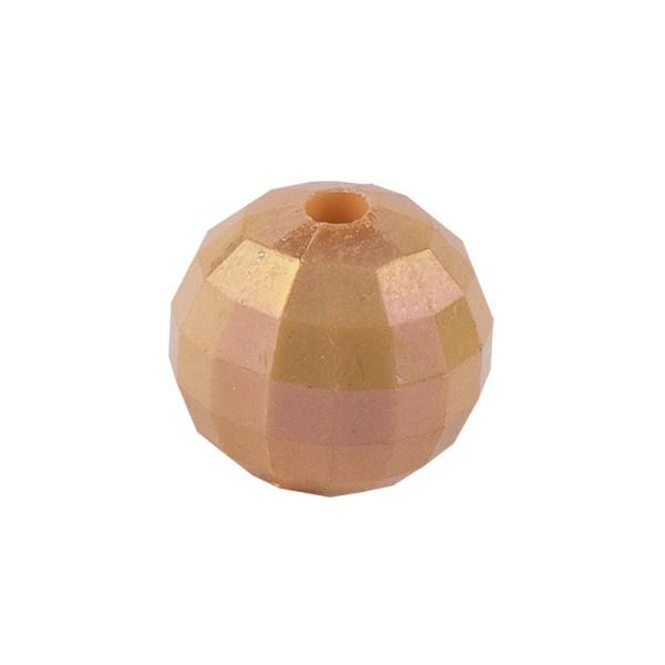 Perlen, facettiert, Ø 8mm, apricot-irisierend, 100 Stk.