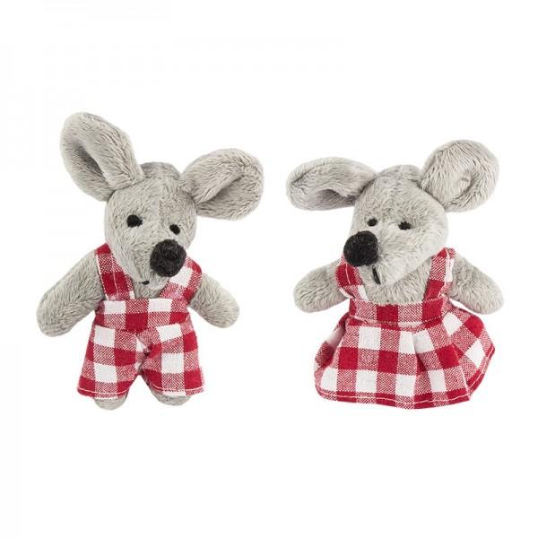 Stoff-Mäuse, Miri & Moritz, 7,5cm x 9,5cm, 2 Stück
