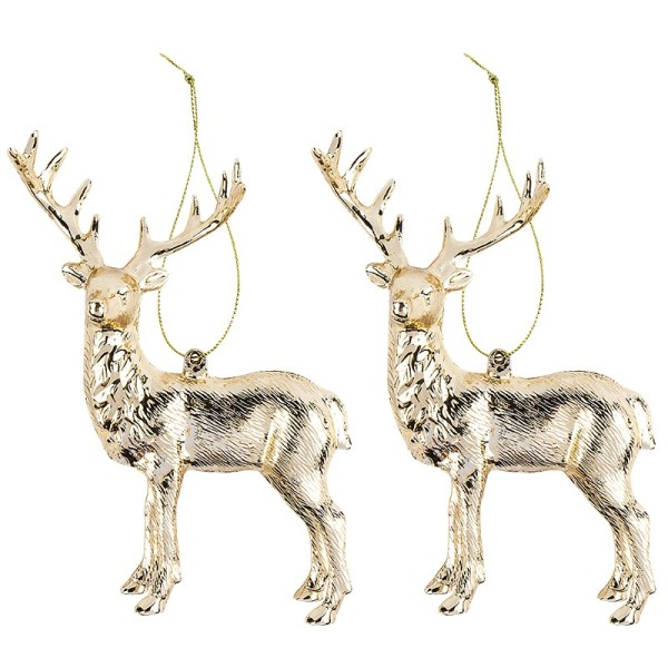 Deko-Hirsche, Design 1, 11,5cm x 14,5cm, gold-metallic, 2 Stück