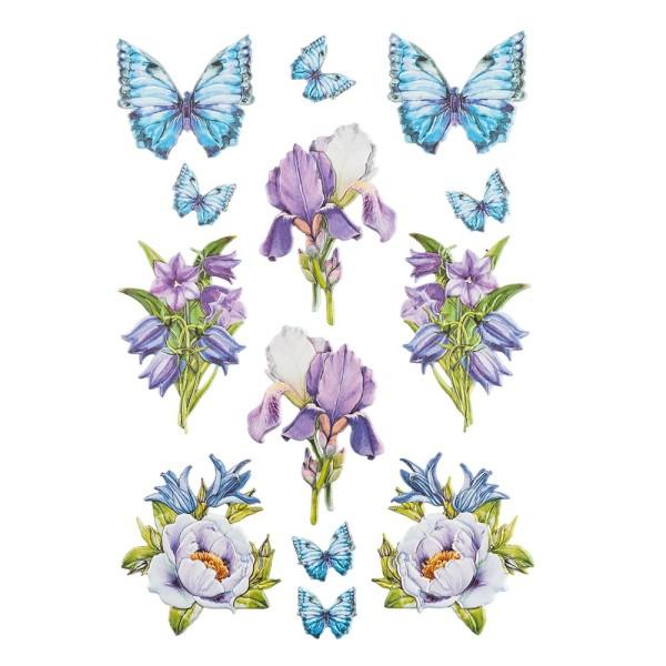 3-D Relief-Sticker, Blaue Blüten 2, verschiedene Größen, selbstklebend