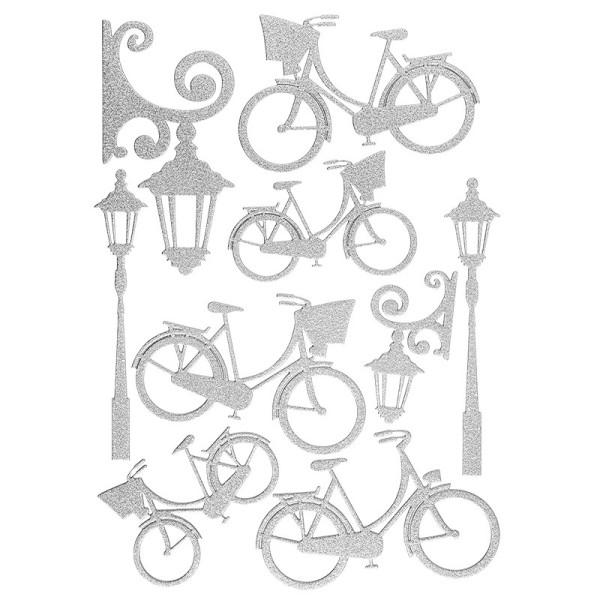 """3-D Sticker """"Deluxe Fahrräder & Laternen"""", verschiedene Größen, selbstklebend, silber"""