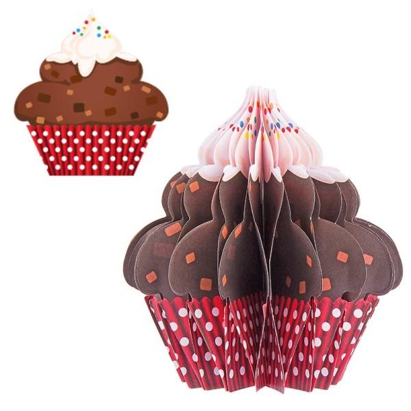 Waben-Stanzteile, Cupcake 2, braun/rot, 8,2cm x 8,8cm, 100 Stück