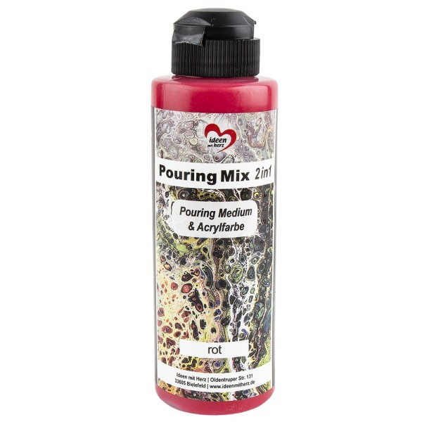 Pouring Mix, 2 in 1, Pouring Medium & Acrylfarbe, rot, 180ml