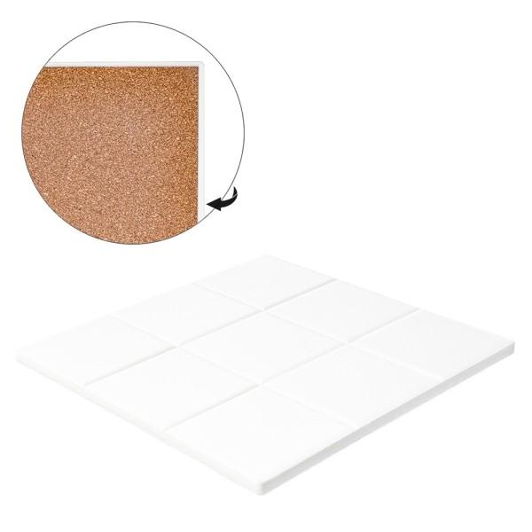 Keramik-Fliese, eckig mit 9 Quadraten, 16cm x 16cm, weiß, unbehandelt