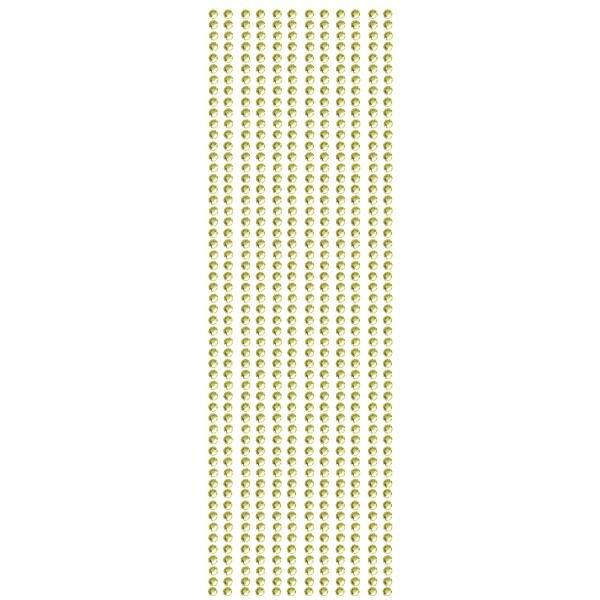 Glitzerstein-Bordüren, selbstklebend, Ø4mm, 29cm, 12 Stk., gelb