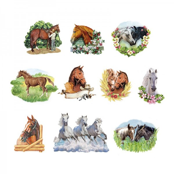 3-D Motive, Pferde, 6,5-10cm, 10 Motive