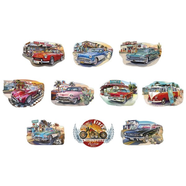 3-D Motive, Vintage Vehicles, 8-12,5cm, 10 Motive