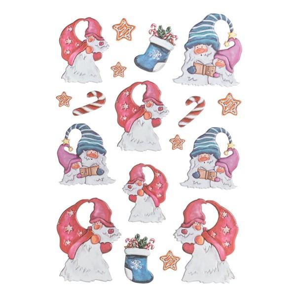 3-D Relief-Sticker, Wichtel 4, verschiedene Größen, selbstklebend
