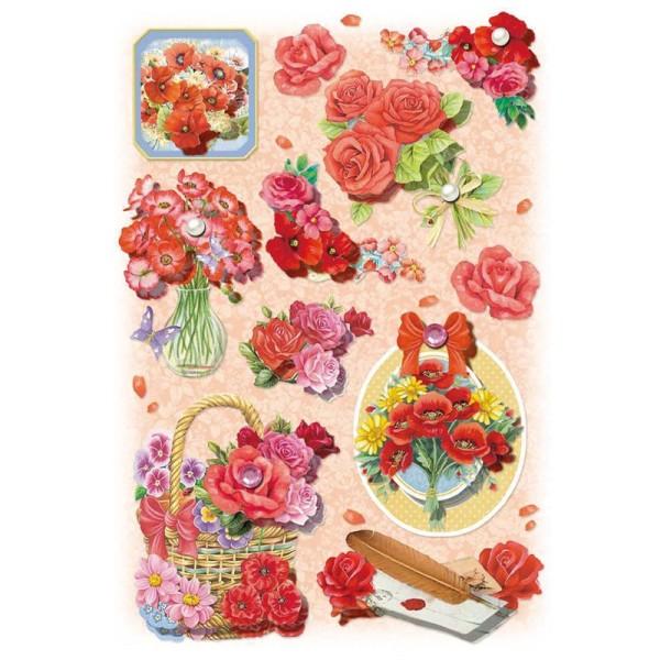 3-D Stickerbogen, Blumen/rot, 12,7 x 18,8 cm