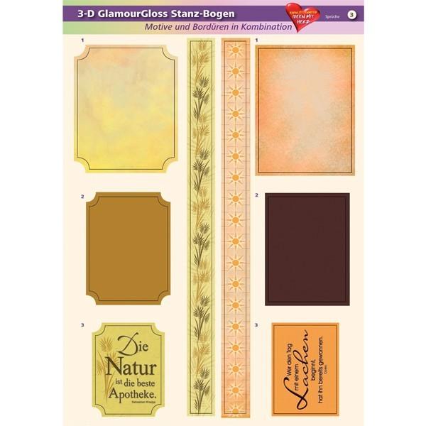 3-D GlamourGloss Bogen, Sprüche, DIN A4, Motiv 3