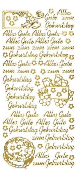 Sticker, Schrift, Alles Gute zum Geburtstag, gold