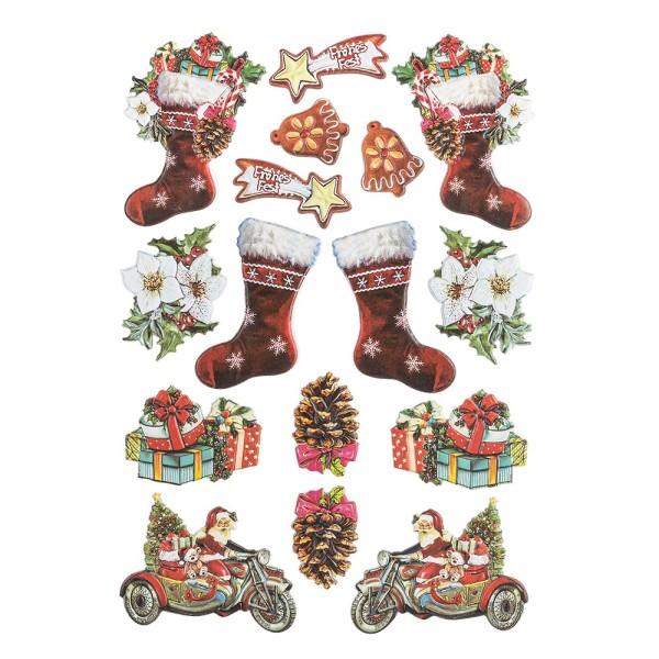 3-D Relief-Sticker, Vintage-Weihnachten 2, verschiedene Größen, selbstklebend