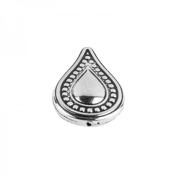 Perlen, Tropfen, 3,5cm x 2,2cm, antik-silber, 10 Stück