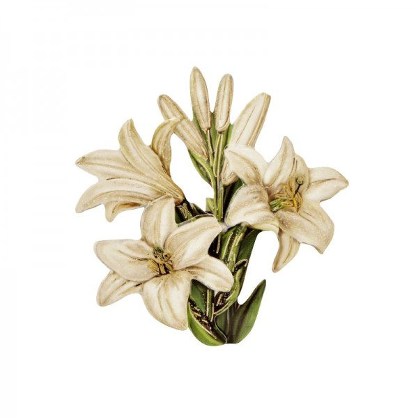 3-D Motiv, weiße Lilien, Gold-Gravur & Glimmerlack, 8 cm