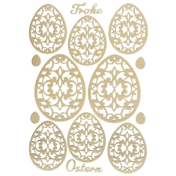 """3-D Sticker """"Deluxe Ostern"""", verschiedene Größen, selbstklebend, gold"""