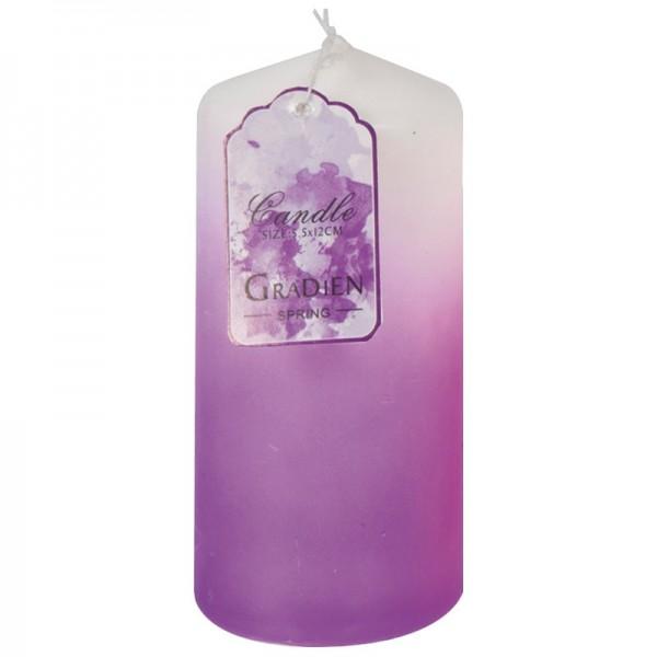 Kerze mit Farbverlauf, Ø 5,5 cm, 12 cm Höhe, violett