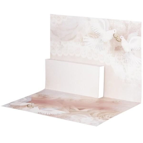 Pop-Up-Grußkarten-Einleger, gefaltet 11 x 15,5 cm, Tauben