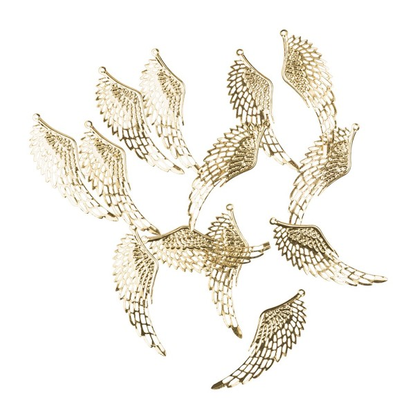 Metall-Ornamente, Design 20, 7,1cm x 2,4cm, hellgold, 13 Stück