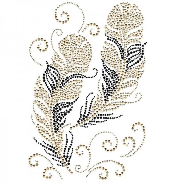 Bügelchaton-Design, DIN A4, mehrfarbig, Federn 2, champagner/schwarz