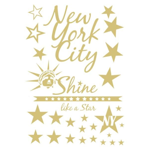 Metallic-Bügeltransfer, New York, DIN A4, gold glänzend
