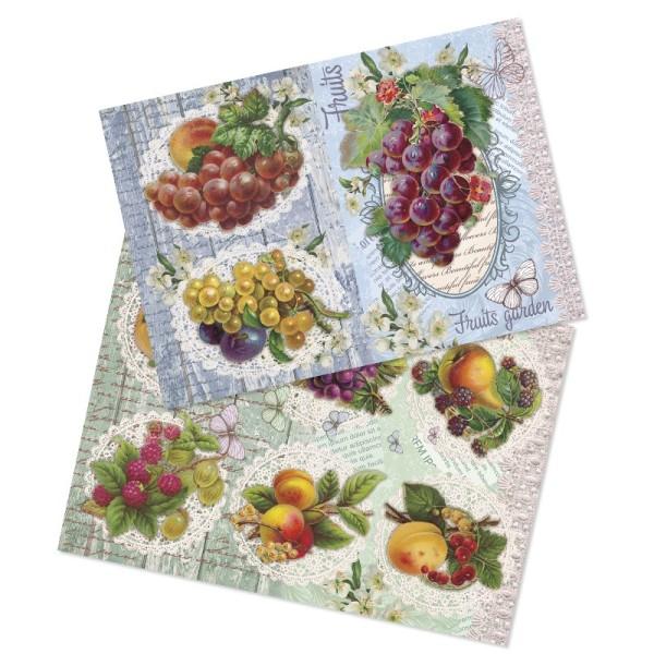 """Reispapiere, Nostalgie """"Früchte"""", DIN A4, 2 Designs"""