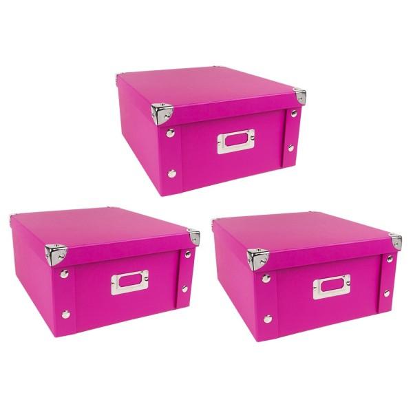 Ordnungsbox, faltbar, mit Deckel, 31cm x 26cm x 14cm, pink, 3 Stück