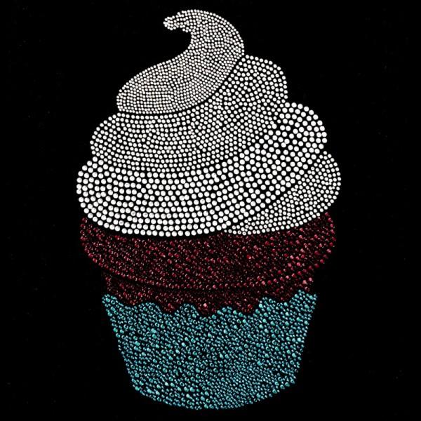 Bügelstrass-Design, DIN A4, mehrfarbig, Cupcake