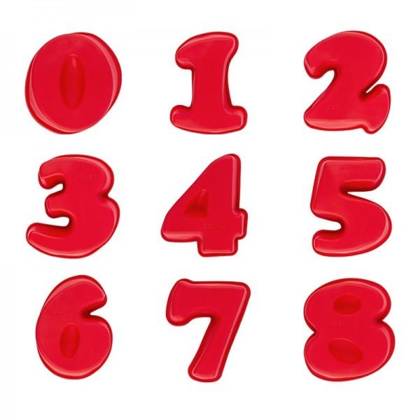 Silikonformen, Zahlen, 0 bis 8, 12,4cm - 17,5cm, 4,5cm hoch, 9 Stück