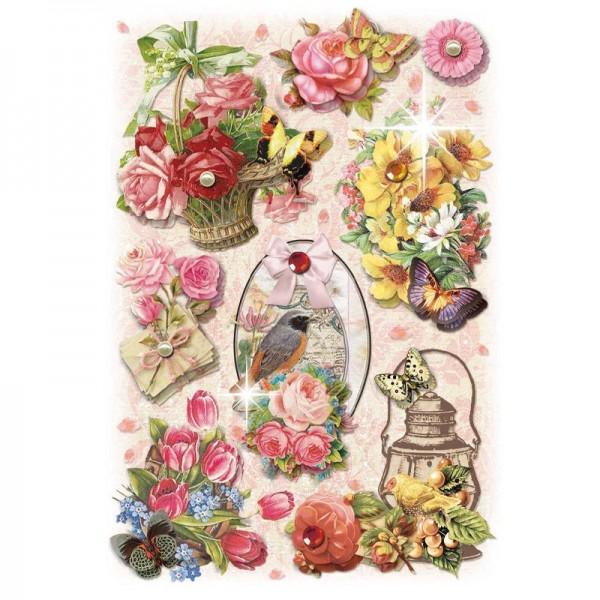 3-D Stickerbogen, Gartenblumen 8, 12,7 x 18,8 cm